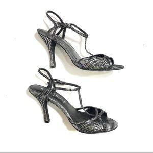 White House Black Market Shoes - White House Black Market Silver Heels